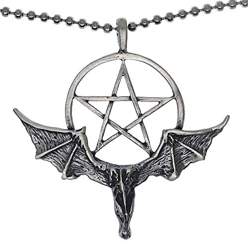 Ohdeal4U Medieval Magic Merlin Pentagram Pentacle Star Winged Dragon Pewter Pendant Necklace Charm Amulet w Silver Ball Chain