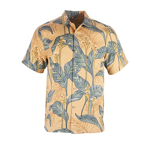 - Havana Breeze Men's 100% Silk Relaxed-Fit Camp Shirt