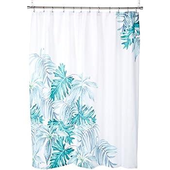Botanical Minimalist Palm Leaf Design 100 Percent Cotton Shower Curtain Tropical Beach Pattern In Aqua