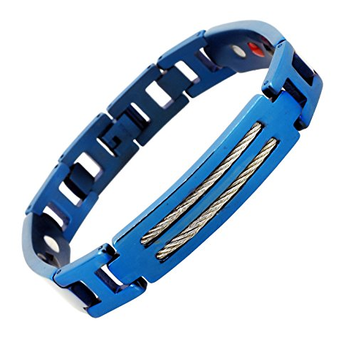 Mandala Crafts Blue Titanium Magnetic Bracelet Wristband for Men, Ion Germanium Magnet 4 Elements (Stainless Steel Cable)