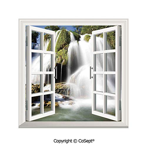 SCOXIXI Creative Window View Wall Decor,Majestic Waterfall Flowing on Cliff Rocks in Rural Town Wild Nature Art Image,Window Stickers Have Beautiful Scenery(25.86x22.63 inch)