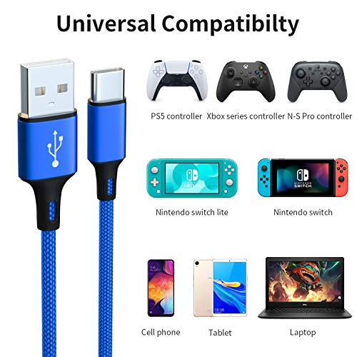2 Pack 10FT Charging Cable for PS5 DualSense and Xbox Series X/S / Switch Pro Controller, Ackmioxy Charging Cord Nylon Braided Type-C Port Charger Accessories for Playstation 5/ Xbox Series S/X (Blue)