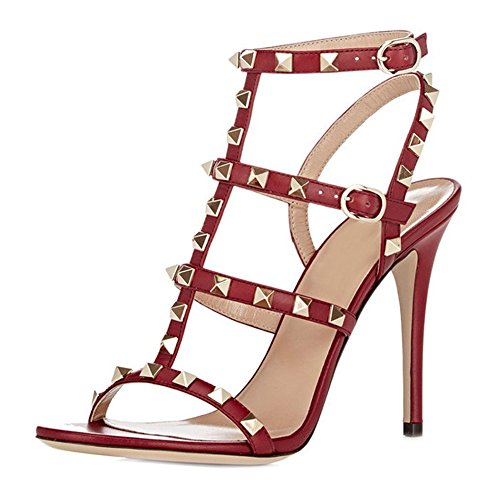 - VOCOSI Women's Ankle Strap High Heels Studded Strappy Stilettos Open Toe Dress Sandals M-Red 12 US
