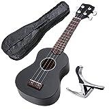 """AW 21"""" Black Ukulele Basswood w/ Bag Aluminum Capo For Adult Kids Study Musical Instrument"""