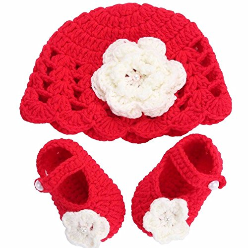 [Farook-Flower Knitting Baby Shoes Girls Hats Sets( 0-6 Months )] (Monster High Snow Girl Costume)