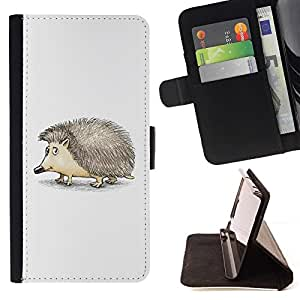 DEVIL CASE - FOR HTC One M7 - Cute Friendly Hedgehog - Style PU Leather Case Wallet Flip Stand Flap Closure Cover