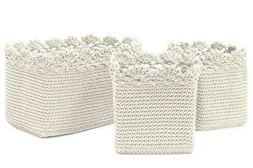 Cream Basket - Heritage Lace MC-1050CR Mode Crochet Set/3 Cream Basket W/Crochet Trim Mode Crochet Set/3 Basket W/Crochet Trim,Cream