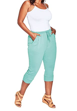 Roamans Women's Plus Size Drawstring Knit Capris at Amazon Women's ...