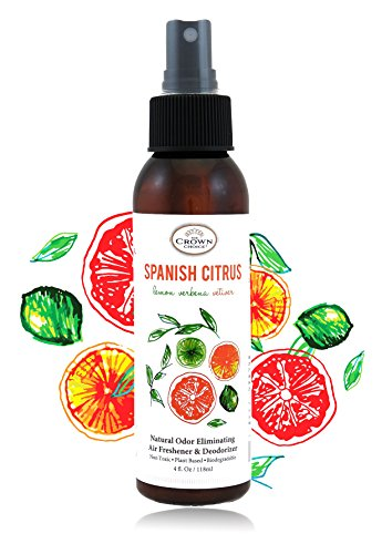 NATURAL Room Deodorizer Spray Air Freshener (SPANISH CITRUS 1PK) | Lemon Citrus Verbena Naturals Deodorize Freshner for Rooms & Odor using Essential ()