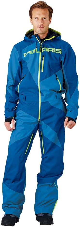 Polaris Mens Adjustable One-Piece Snow Monosuit Uninsulated Shell 3M Reflective Medium Blue//Lime