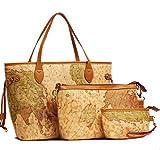 Buenocn Vintage Style World Map Faux Leather Handbag Shoulder Bag 3 Pces Shy237