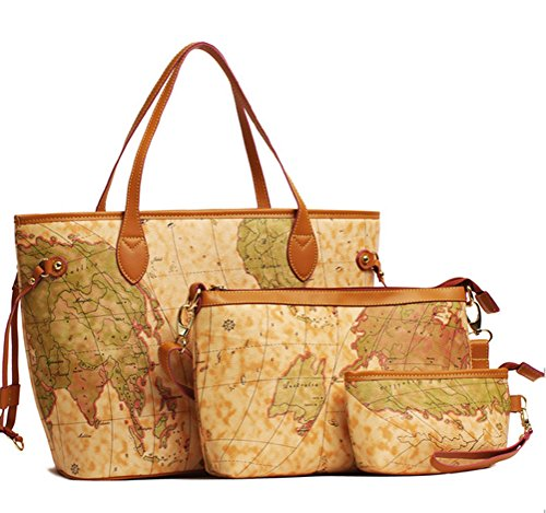 Vintage Style World Map Handbag Set