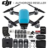 DJI Spark Portable Mini Drone Quadcopter Fly More Combo Water Proof Hard Case Bundle With Extra Battery (Sky Blue)