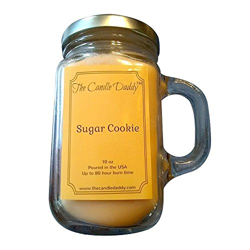 Sugar Cookie Scented Candle- by the Candle Daddy-  Soy Wax Blend- Mason Jar- 10 Ounce - 80 Hour Burn Time- Poured In Small Batches in USA