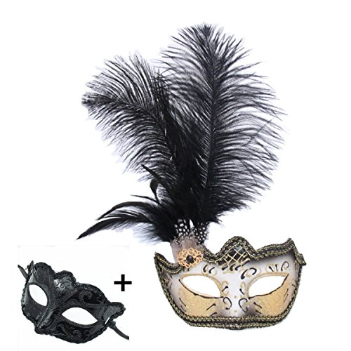 (Haojing Masquerade Carnival Mardi Gras Costume Venetian Halloween Party Mask with Feather Flower and Gift(Black)