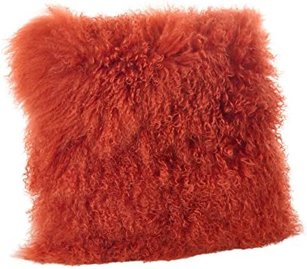 SARO LIFESTYLE 100 Wool Mongolian Lamb Fur Throw Pillow with Poly Filling, 20