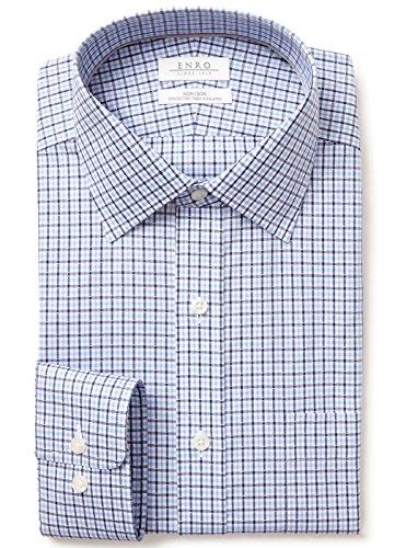 Enro Non-Iron Spread Collar Dobby Check Dress Shirt | Blue 17 1/2 x 32/33