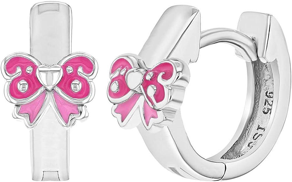 925 Sterling Silver Pink Enamel Bow Huggie Hoop Earrings for Girls