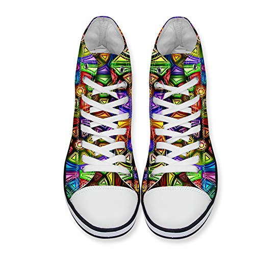 Voor U Ontwerpen Glitter Geruite Casual High-top Dubbele Bovenzijde Vetersluiting Sneaker Voor Dames Multi 2