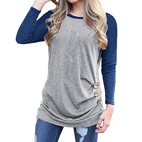 UONQD Women Tops 3/4 Sleeve Empire Waist Lace Splicing Tunic Pullover Shirt (Large,Blue) ()