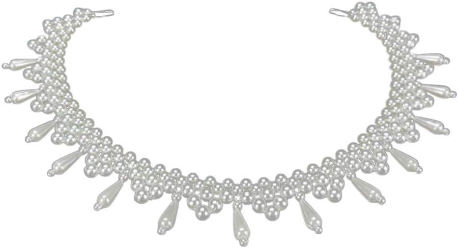 Folewr-8 - Collar de Camisa de imitación con Perlas Falsas para Mujer 1