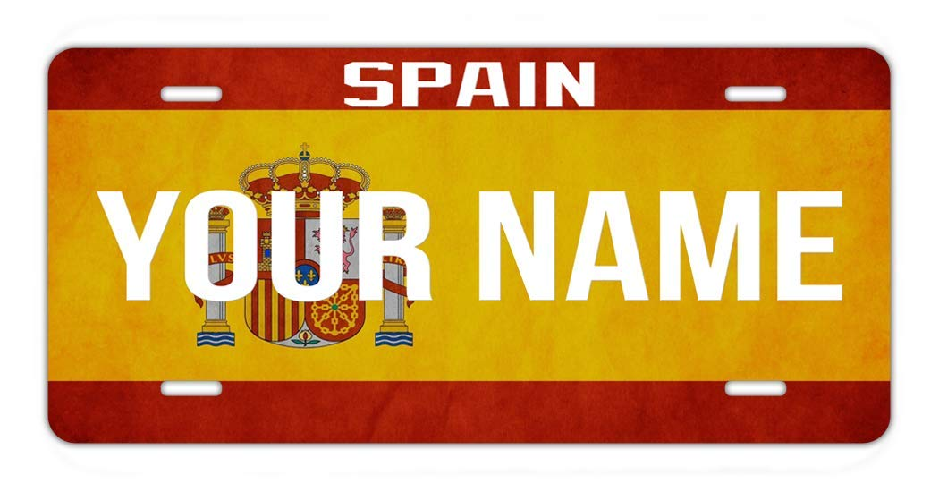 BRGiftShop Personalize Your Own License Spain Flag Country Plate Car Vehicle 6x12 Tag