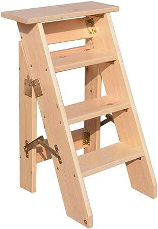 Escalera De Taburete Plegable De 4 Peldaños, Escaleras para Escaleras De Madera para Sillas De Casa para Niños Y Adultos, Herramienta Liviana para El Jardín De Casa Trabajo Pesado,Wood: Amazon.es: Hogar