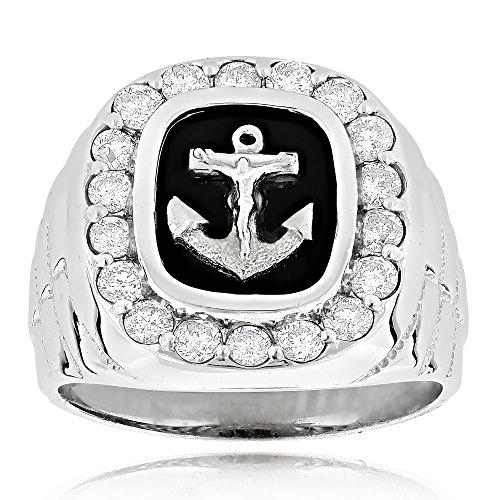 Luxurman Black Natural Onyx And Real 1.5 Ctw Diamond 14K Anchor Vintage Ring For Him (White Gold Size -