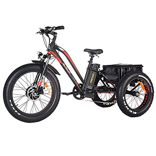 Addmotor Motan Electric Tricycles 24 Inch Fat Tire Electric Trike Bicycle Trike 3 Wheel Ebikes 750W 14.5Ah Lithium Battery Rear Basket Cargo M-350-P7 Ebikes Cruise Trike with Supension Fork