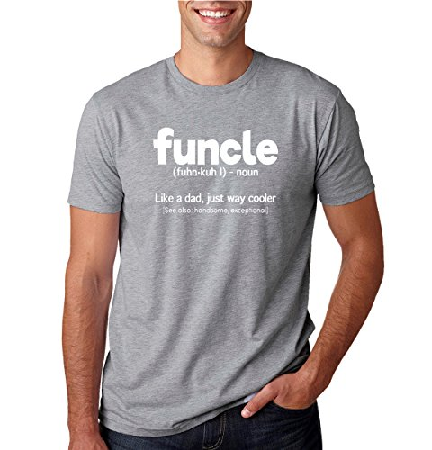 Wild Bobby Funcle T Shirt Fun Uncle Funcle Definition T-Shirt Mens Humor Graphic Tee, Heather Grey, Medium