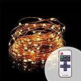 String Lights Copper Wire, SOLLA Dimmable Starry String Lights Remote Control USB Powered Waterproof String Lights, Warm White 33ft 100 LEDs, Flexible