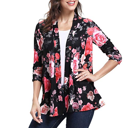 Sunhusing Ladies Casual Bohemian Ethnic Print 3/4 Sleeve Cardigan Summer Holiday Beach Sun Protection Top (Best Sun Creams For Protection)