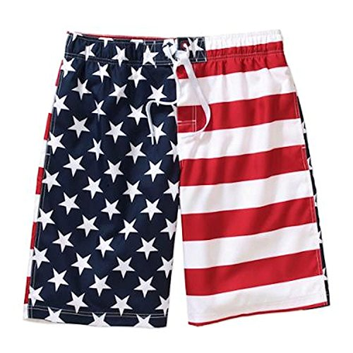 Faded Glory Mens All Over American Flag Swim Trunks (Large 36-38) (Mens Vintage Bathing Suit)