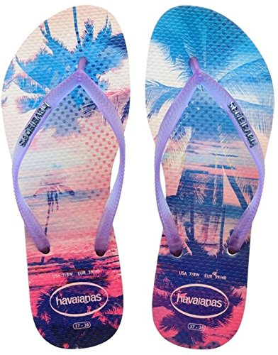 Havaianas Slim Paisage - Flat Beach Flip Flop - White/Purple, Light Green UK 6/7 - Bra 39/40 - Uk Havaianas