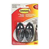 Command 17087S-C Terrace Hooks, Medium, Slate, 2 Hooks 4 Medium Strips