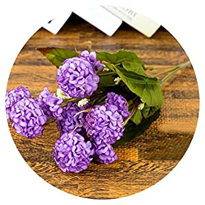 9 Heads/Bunch Artificial Hydrangea Bouquet for Party Home Wedding Valentine's Day Fake Simulation Bridal Silk Flowers P20,Light Purple 97