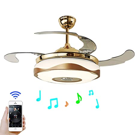 Fandian 42 Modern Ceiling Fans with Light Smart Bluetooth Music Player Chandelier 7 Colors Invisible Blades with Remote Control, Dimmable LED Kits Inlcuded 42 Modern