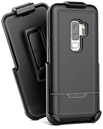 Encased Galaxy S9 Plus Heavy Duty Case + Belt Clip, (Rebel Series) Military Grade Tough Case with Reinforced Holster (S9+) (Black)