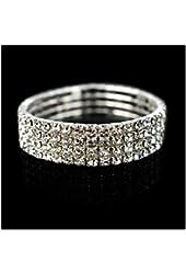 EOZY Elastic Stretchy Rhinestone Crystal Bracelet Bangle Wedding Bridal Jewellery 4 Rows ...