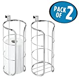 mDesign Over-the-Tank Toilet Paper Holder for Bathroom Storage - Pack of 2, Chrome