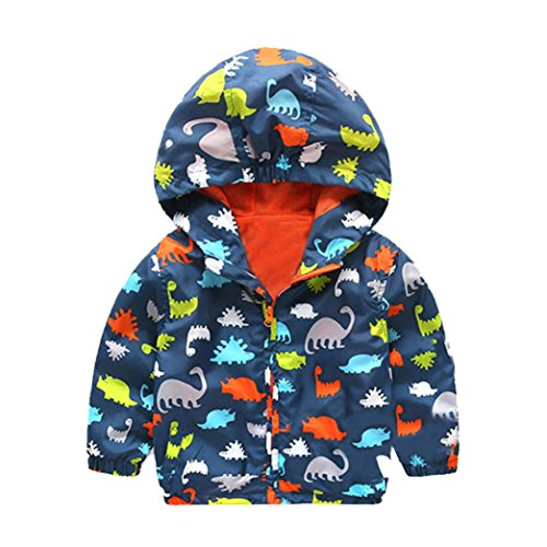 Girls Boys Dinosaur Print Hooded Zip Trench Coat Cloak Jacket Thick Warm Outerwear (24M, Navy) (Animal Print Trench Coat)