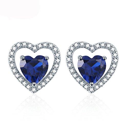 Pegaffi Hypoallergenic 925 Silver September Birthstone Blue Sapphire Stud Earrings Double Heart CZ Gemstone Earring for Women