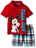Disney Toddler Boys' Mickey Mouse Plaid Short Set with Polo-Top, Red, 3T