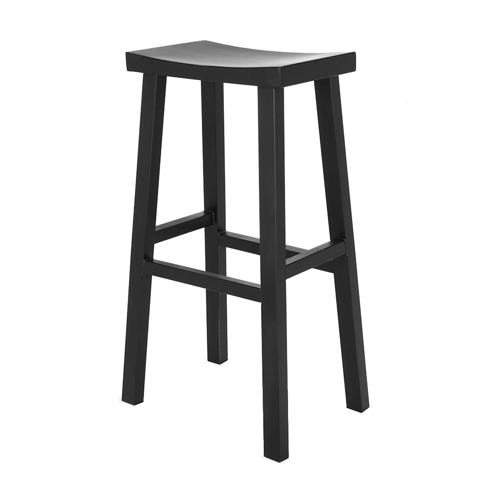 Renovoo Steel Saddle Seat Bar Stool, Commercial Quality, Matte Black Powder Coated Finish, 30 inches Seat Height, Indoor and Porch Use, 1 Pack by Renovoo