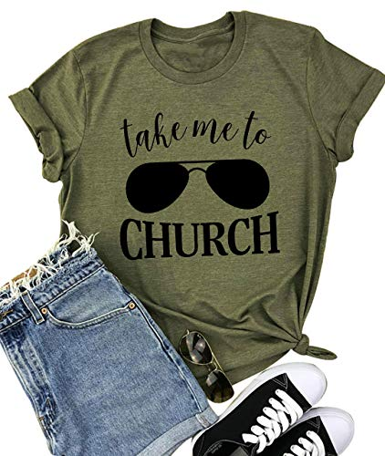YUYUEYUE Take Me to Church T Shirt Women Country Music Casual Short Sleeve O Neck Tops Tee (X-Large, Army -