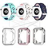UMTELE for Apple Watch Band 38mm, Soft Silicone Replacement Band Sport Strap with Ventilation Holes for Apple Watch Nike+, Series 3, Series 2, Series 1, Sport, Edition, 3 Pack