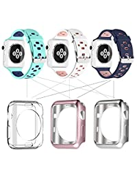 Apple Watch Breathable Band 42mm, UMTELE Silicone Replacement Wristband Sport Strap with TPU Protective Case for Apple Watch Nike+, Series 2, Series 1, Pack of 3 #1