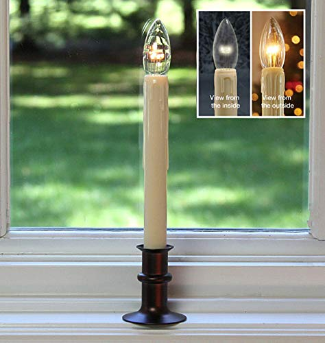 Battery Operated LED Window Candles with Streetside Brightness Dual LED Bulb with Daily Timer and Adjustable Height (Bronze)