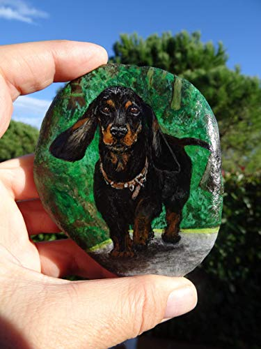 Sweet dachshund portrait on beach stone. Painted Stone dachshund, Rock Painting Animal, Acrylics Painted Stone, dachshund, Pet Rock Portraits, Hand Painted, Christmas Gift from Andrea Virag