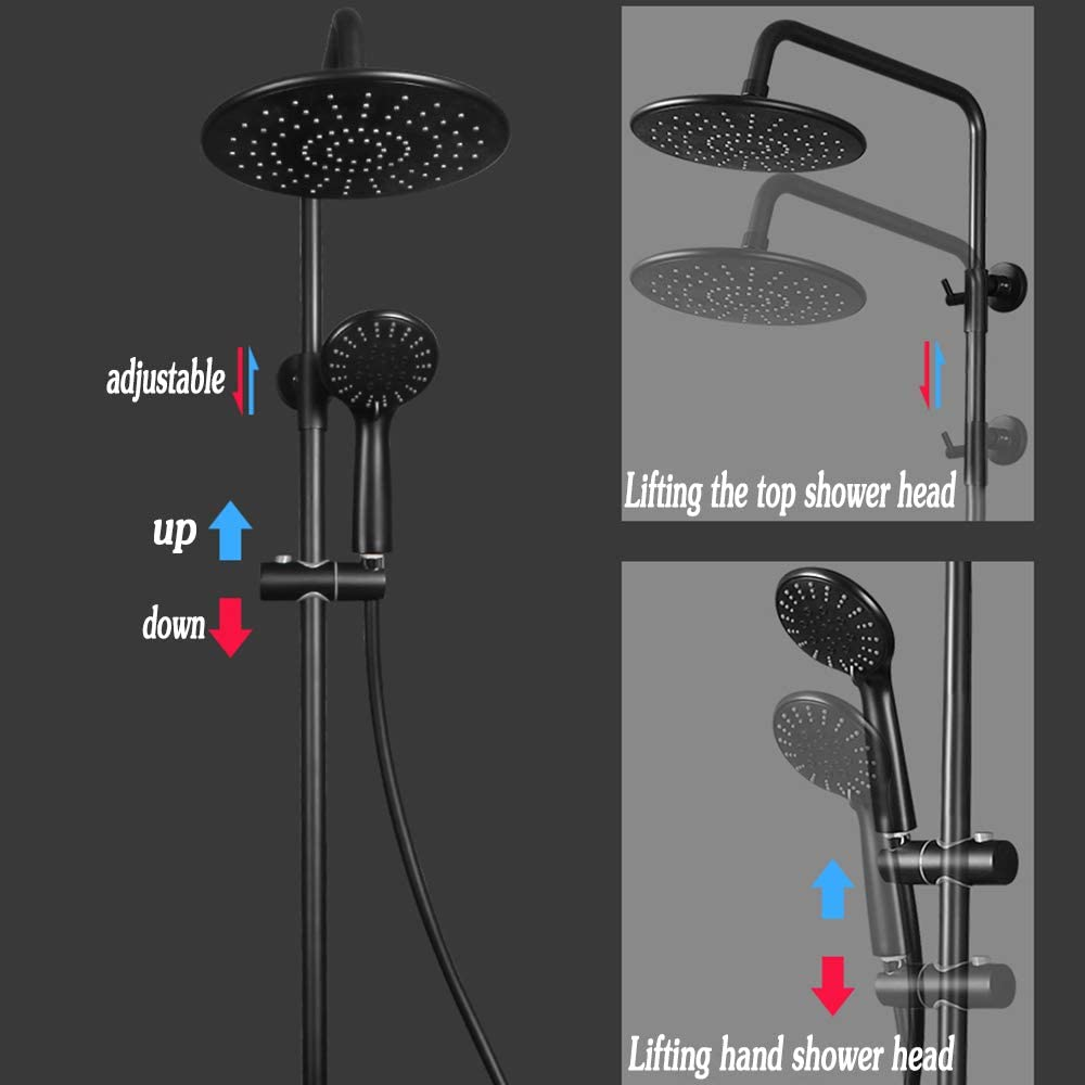FuAo Negro Columna de Ducha Termostatica 30-58℃ Conjunto de Ducha con Grifo 8 Ducha de Lluvia Ronda y 3 Tipos Ducha de Mano Set de Ducha Barra Ajustable 80-120cm para Ba/ño y Ba/ñera